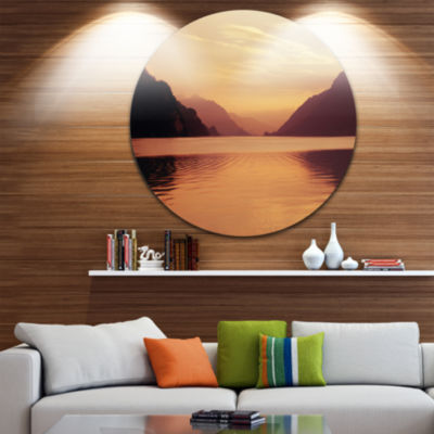 Design Art Fantastic Swiss Lake at Sunset in Brienz Extra Large Seascape Metal Wall Decor