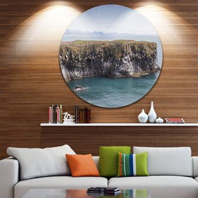 Design Art Huge Rock in Coastline Panorama Extra Large Seashore Metal Circle Wall Art