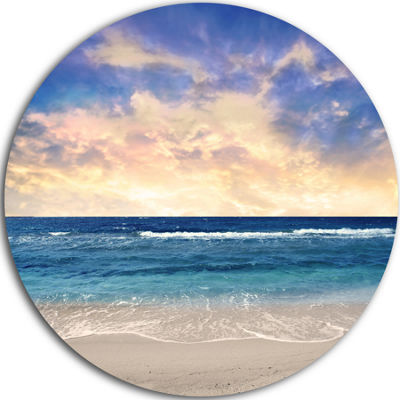 Design Art Clear Blue Sky and Ocean at Sunset Extra Large Seascape Metal Wall Decor