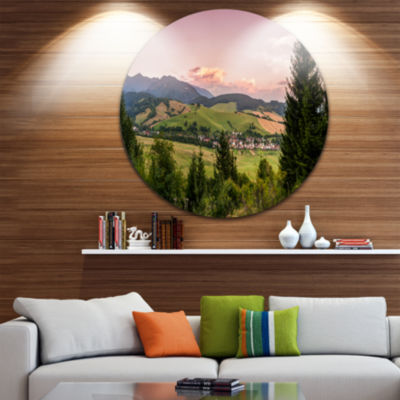 Design Art Beautiful Stretch of Land Panorama Landscape Metal Circle Wall Art