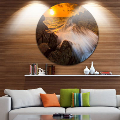 Design Art Sunset Sea Wave Impact Rocks at SunsetExtra Large Seascape Metal Wall Decor
