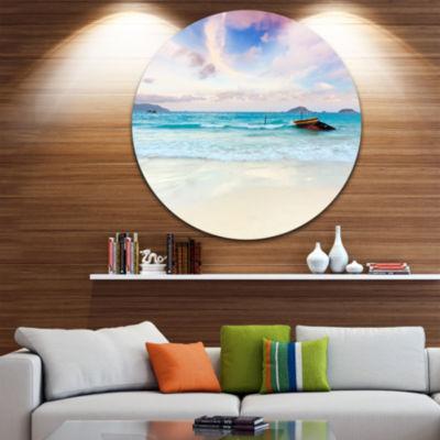 Design Art Exotic Seashore Sunset Over Blue Sea Extra Large Seascape Metal Wall Decor