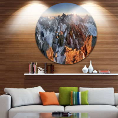Design Art Scenery of High Mountain with Lake Landscape Print Wall Artwork