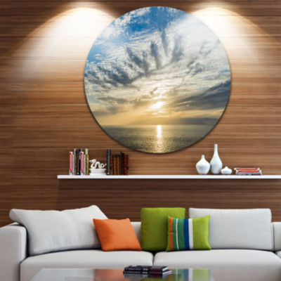 Design Art Sunset Sky above Atlantic Oversized Beach Metal Circle Wall Art