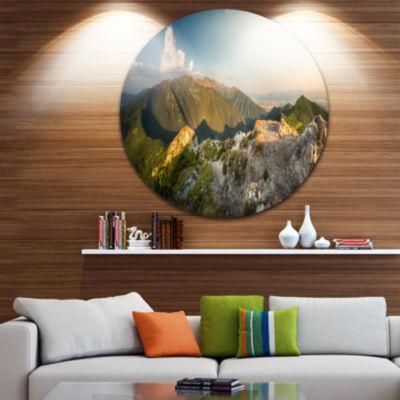 Design Art Rocky Green Mountains Panorama Landscape Metal Circle Wall Art