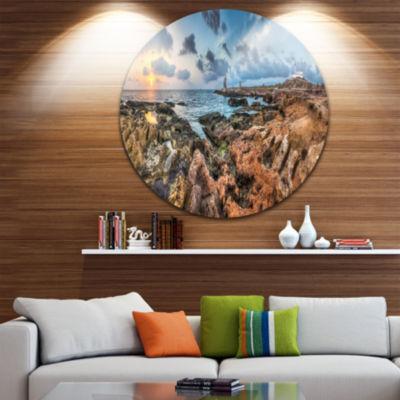 Design Art Blue Sky over Rough Rocky Coast Extra Large Seashore Metal Circle Wall Art