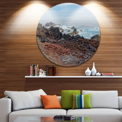 Design Art Beautiful Azores Rocky Coast Extra Large Seashore Metal Circle Wall Art