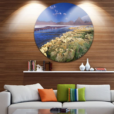 Design Art Colorada Lagoon and Pabellon Volcano Oversized Beach Metal Circle Wall Art