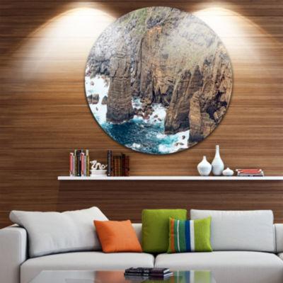 Design Art Heave Rocks in Azores Beach Extra LargeSeashore Metal Circle Wall Art