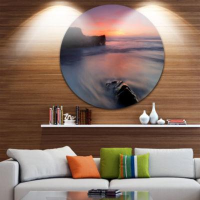 Design Art Softness in the Tide Magoito Beach Seashore Metal Circle Wall Art