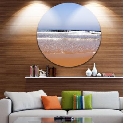 Design Art Beautiful Sea and Beach Ashdod Israel Seashore Metal Circle Wall Art