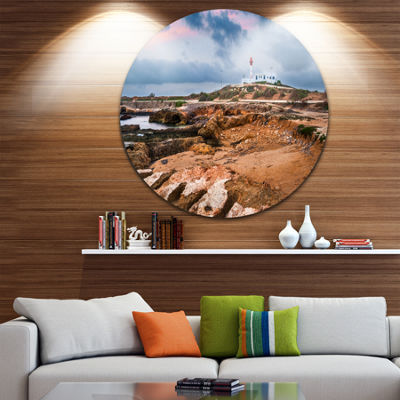 Design Art Remote Lighthouse on the Rocks Landscape Metal Circle Wall Art