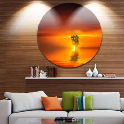 Design Art Wonderful Tree with Birds at Sunset Extra Large Wall Art Landscape