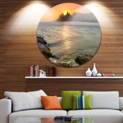 Design Art Ipanema in Rio de Janeiro Sunset ExtraLarge Seascape Metal Wall Decor
