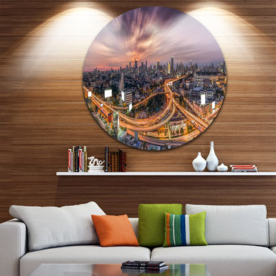 Design Art Bangkok S Shaped Express Way CityscapeMetal Circle Wall Art