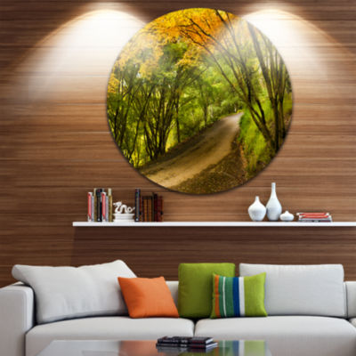 Design Art Country Lane in Green Forest Extra Large Wall Art Landscape