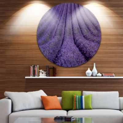 Design Art Blooming Lavender Flower Texture Landscape Metal Circle Wall Art