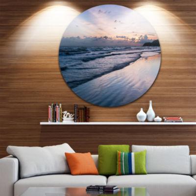 Design Art Blue Sunset Sea Waves Thailand Oversized Beach Metal Circle Wall Art
