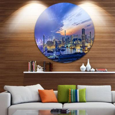 Design Art Hong Kong City Sunset Panorama Cityscape Metal Circle Wall Art