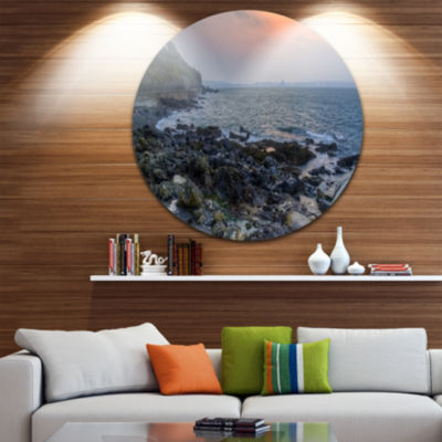 Design Art Dark Rocky Seashore Sunrise Extra LargeSeashore Metal Circle Wall Art
