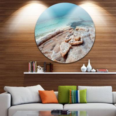 Design Art Dead Sea Beach with Crystallized Salt Extra Large Seashore Metal Circle Wall Art