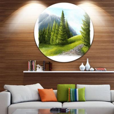 Design Art Road in Green Mountains Landscape MetalCircle Wall Art