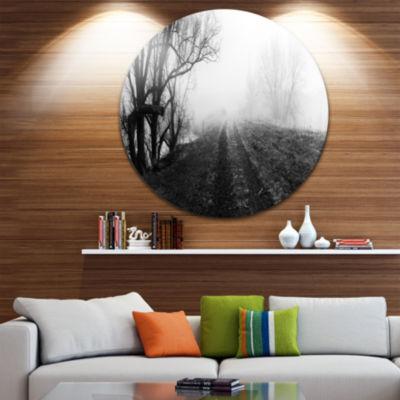 Design Art Black and White Misty Landscape Panorama Landscape Metal Circle Wall Art