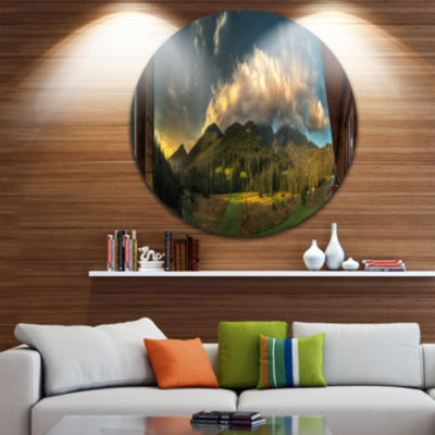 Design Art Outside View from Hotel Room LandscapeMetal Circle Wall Art