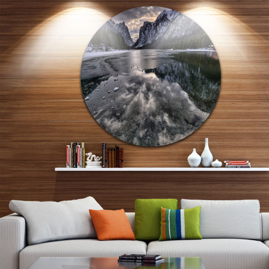 Design Art Black Icy Mountain Lake with Snow Contemporary Landscape Metal Circle Wall Art
