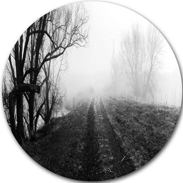 Design Art Black and White Misty Landscape Panorama Landscape Metal Circle Wall Art