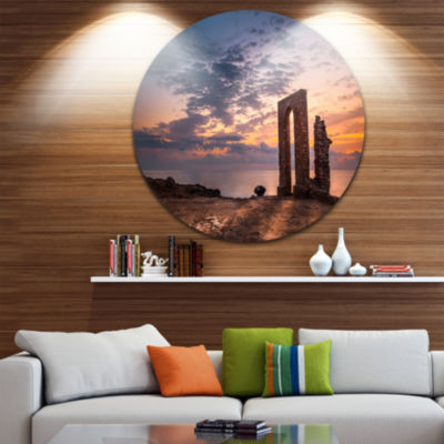 Design Art Historic African Ruins at Sunset Landscape Metal Circle Wall Art