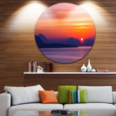 Design Art Stunning Sunset in Greece Extra Large Seascape Metal Wall Decor
