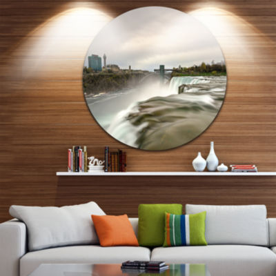 Design Art Niagara Falls Goat Island View Oversized Beach Metal Circle Wall Art