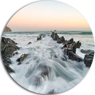 Design Art Waves Hitting Beach at Sunrise AtlanticSeashore Metal Circle Wall Art