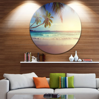 Design Art Typical Sunset on Seychelles Beach Extra Large Seascape Metal Wall Decor