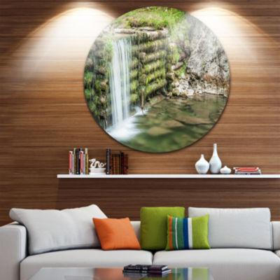 Design Art Fabulous Man made Waterfall Landscape Metal Circle Wall Art