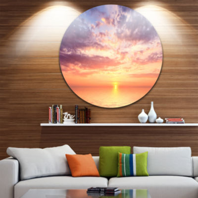 Design Art Cloudy Blue Sky and Ideal Sunset ExtraLarge Seascape Metal Wall Decor