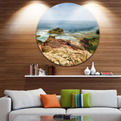 Design Art Thunder Hole Acadia National Park Oversized Beach Metal Circle Wall Art