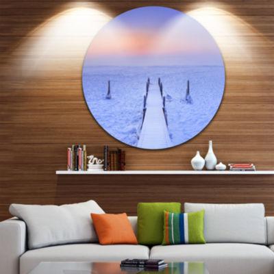 Design Art Jetty in Frozen Lake Netherlands WoodenSea Bridge Metal Circle Wall Art