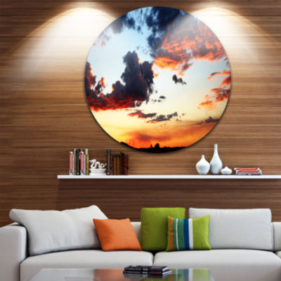 Design Art Blazing Sky with Clouds Panorama ExtraLarge Seascape Metal Wall Decor