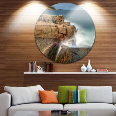 Design Art Acadia National Park Coast Oversized Beach Metal Circle Wall Art