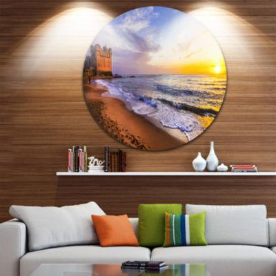 Design Art Castle Santa Severa over Sunset Italy Seashore Metal Circle Wall Art