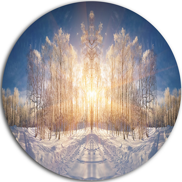 Design Art Horizontally Flipped Winter Land Landscape Metal Circle Wall Art