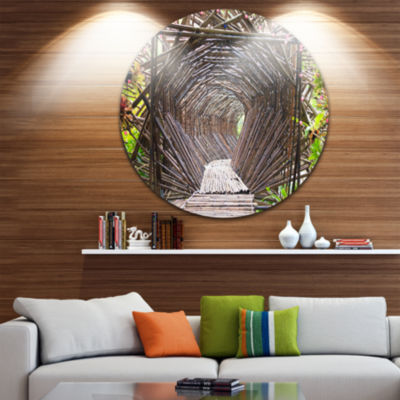 Design Art Bamboo Tunnel in the Garden Landscape Metal Circle Wall Art