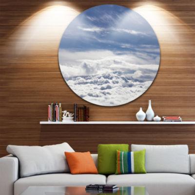 Design Art Flight over Bright Clouds ContemporaryLandscape Metal Circle Wall Art