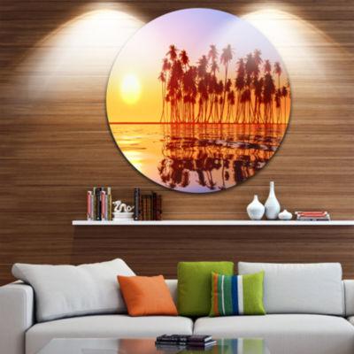 Design Art Beautiful Row of Coconut Palms on BeachExtra Large Seascape Metal Wall Decor