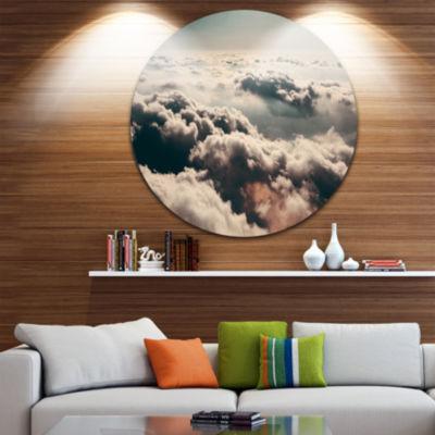 Design Art Sky above Dark Heavy Clouds Contemporary Landscape Metal Circle Wall Art
