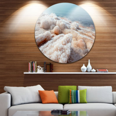 Design Art Crystallized Salt on Dead Sea Beach Extra Large Seashore Metal Circle Wall Art
