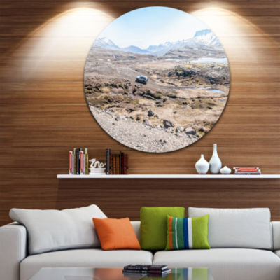 Design Art Off road Iceland Mountains Landscape Metal Circle Wall Art