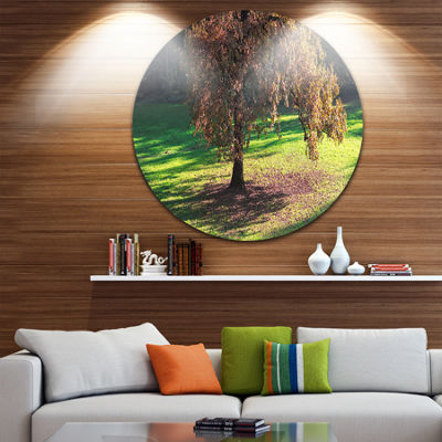 Design Art Lonely Beautiful Autumn Tree LandscapeMetal Circle Wall Art